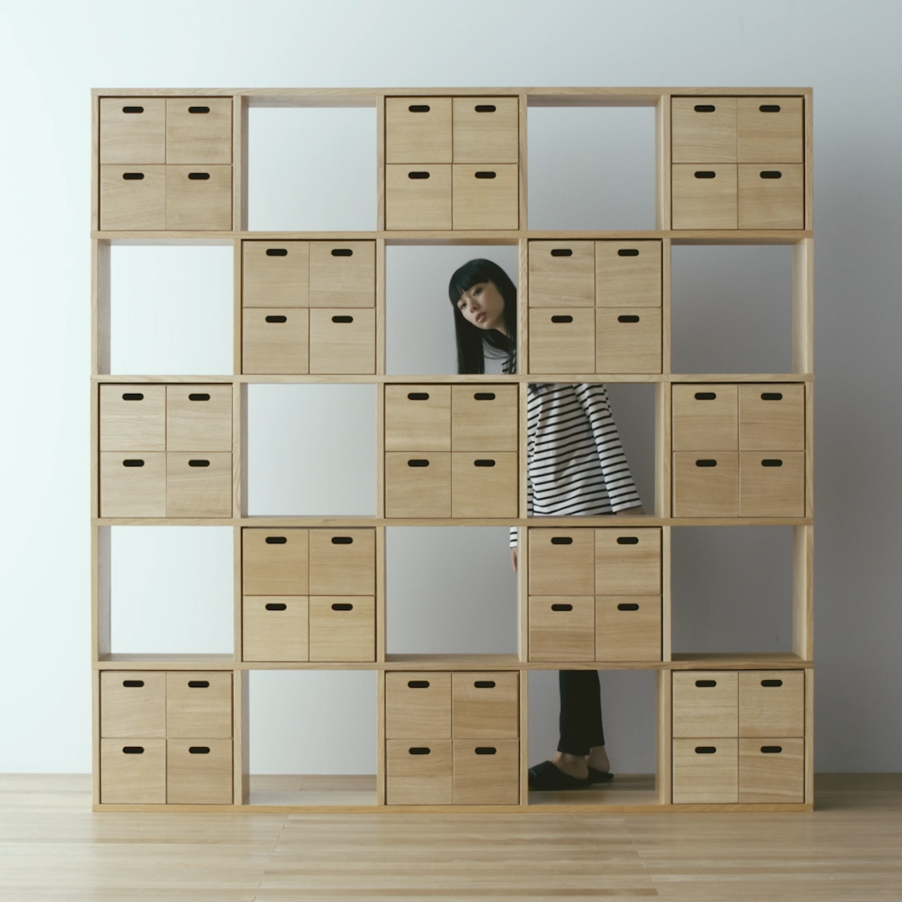 ... and storage boxes - Wooden Stacking Shelf | Compact Life | MUJI