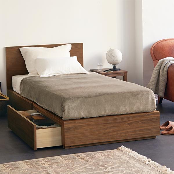 ベルメゾン ベッドガード付きパイン材のシングルベッド あたたかみのある素材感が魅力の、パイン材を使用したベッド。フレームは天然木を使用しています。