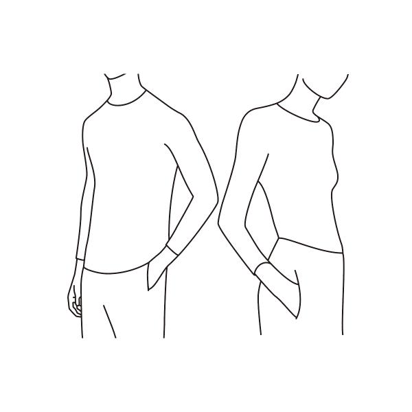なめらか丸胴編みにすることで脇の縫い目をなくし、なめらかな着心地に。