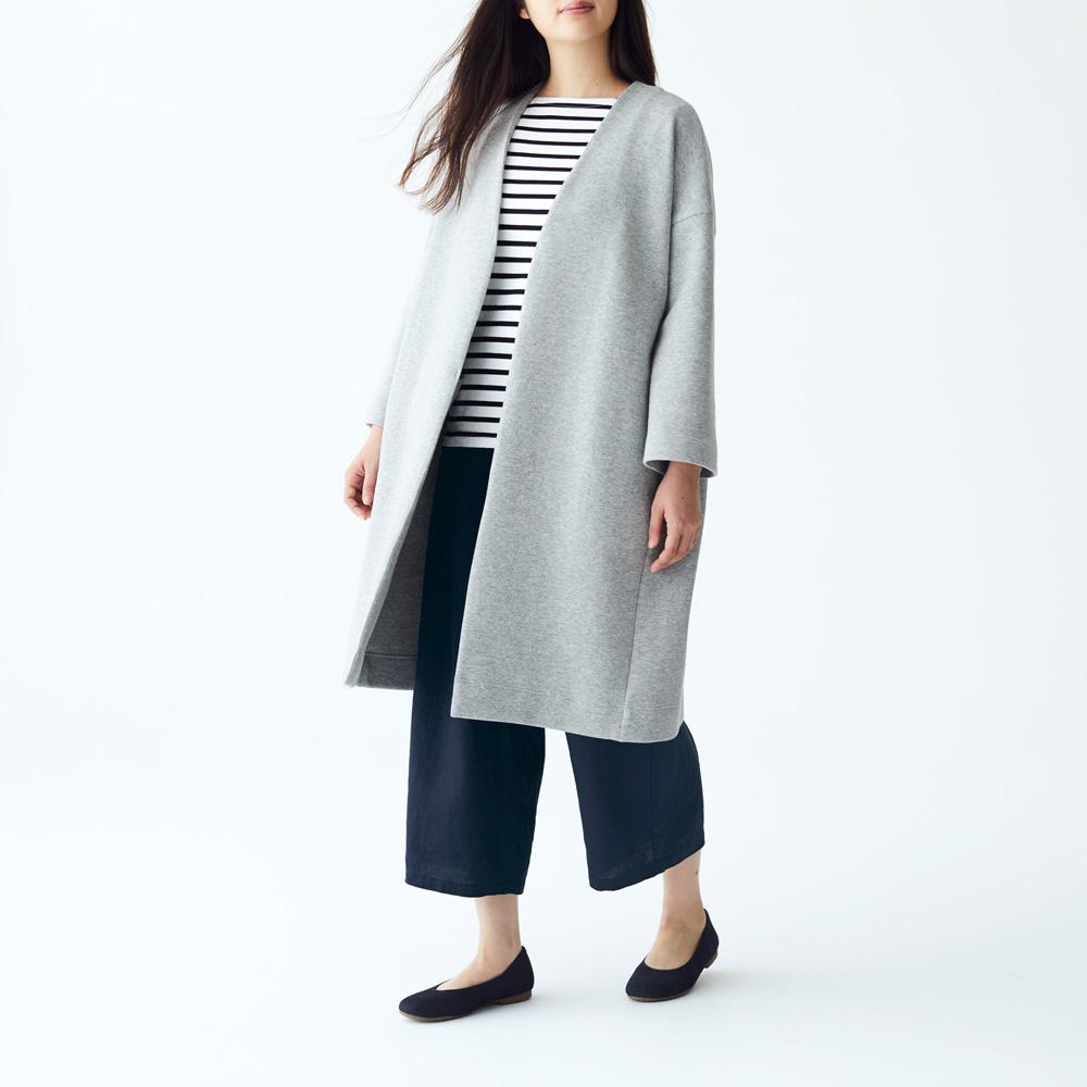 綿混二重編みコート