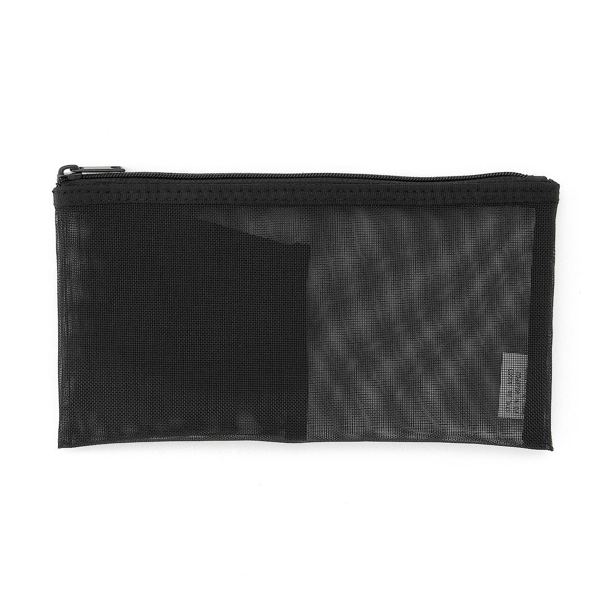 ナイロンメッシュペンケース・ポケット付き 約8×17cm・黒