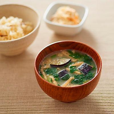 食べるスープ 揚げ茄子とほうれん草の味噌汁 4食