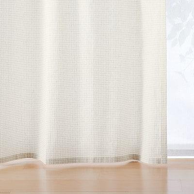 数量限定 再生コットン入り 綿平織カーテン2枚組/オフ白×杢グレーチェック 幅100×丈178cm用