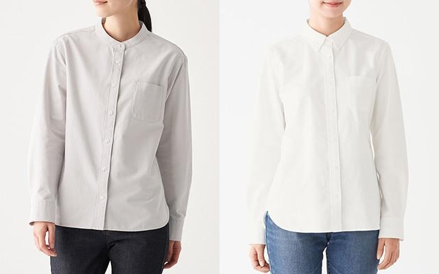 婦人洗いざらしオックスボタンダウン/スタンドカラーシャツ