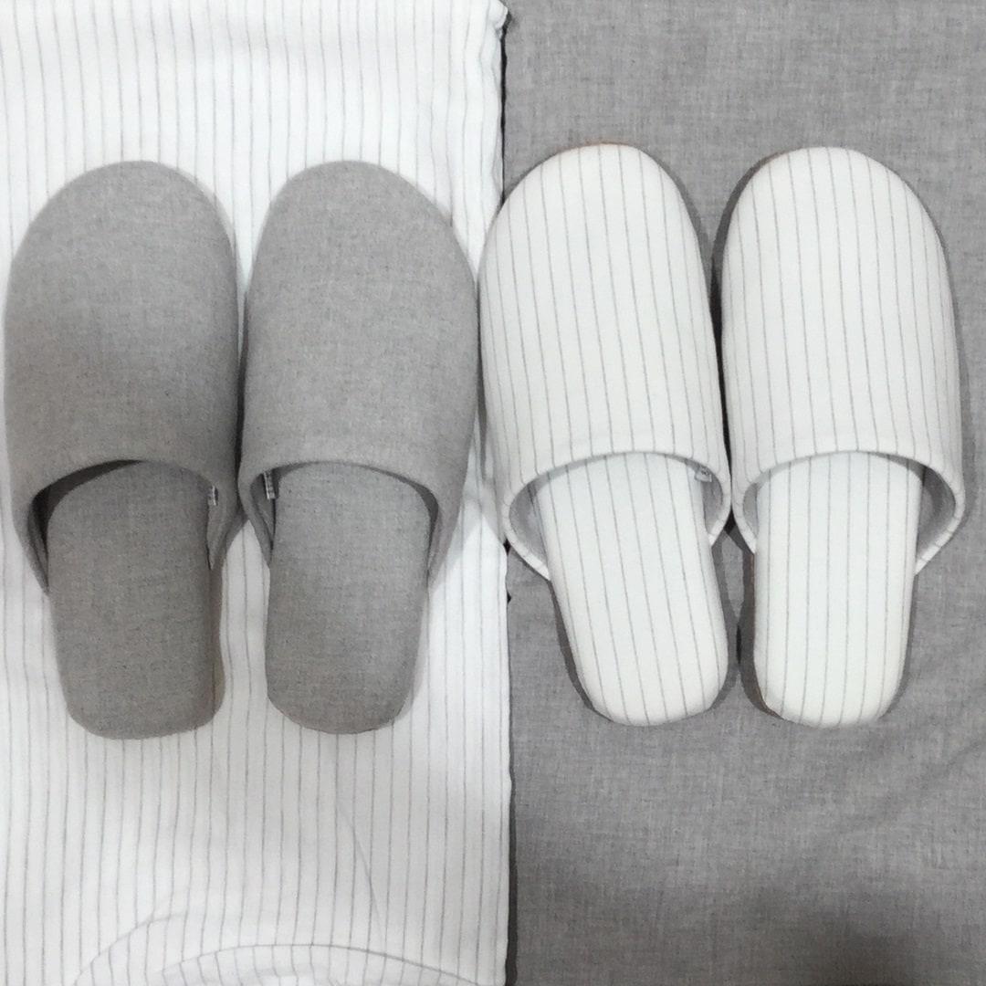 再生コットン入り綿平織足にフィットするスリッパ