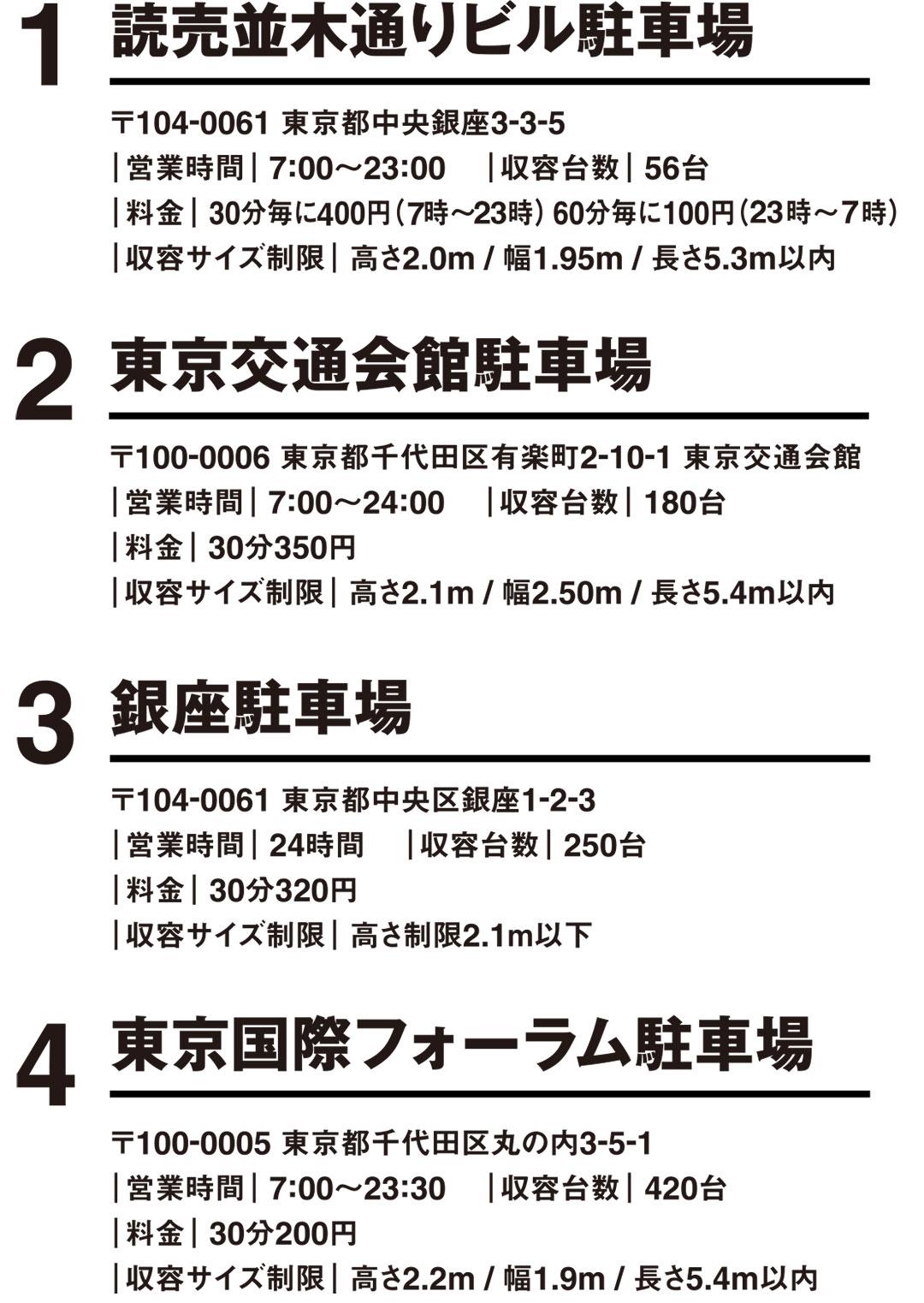 【銀座】各契約駐車場