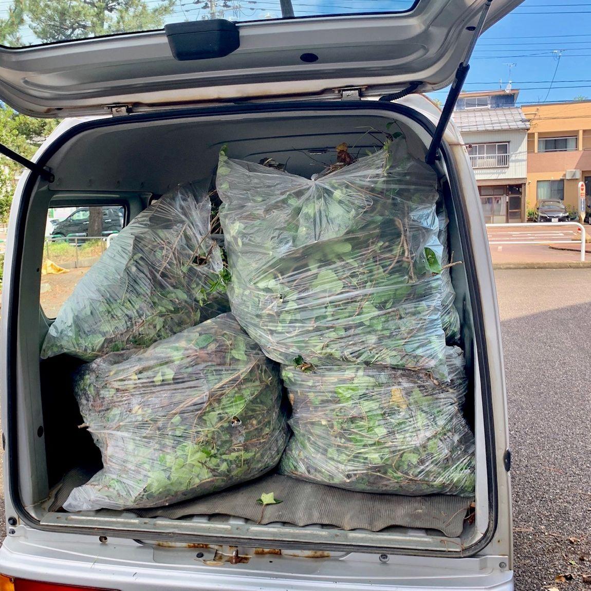 車の荷台に積み込まれたゴミ