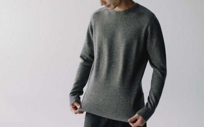 A man wearing a yak wool sweater.