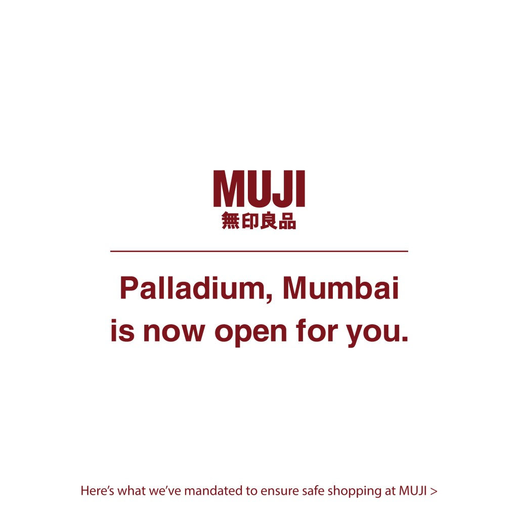 MUJI store at Palladium, Lower Parel Mumbai is now opwn for customers to shop from